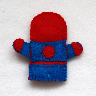 Spiderman felt fingerpuppet, handmade by Joanne Rich.