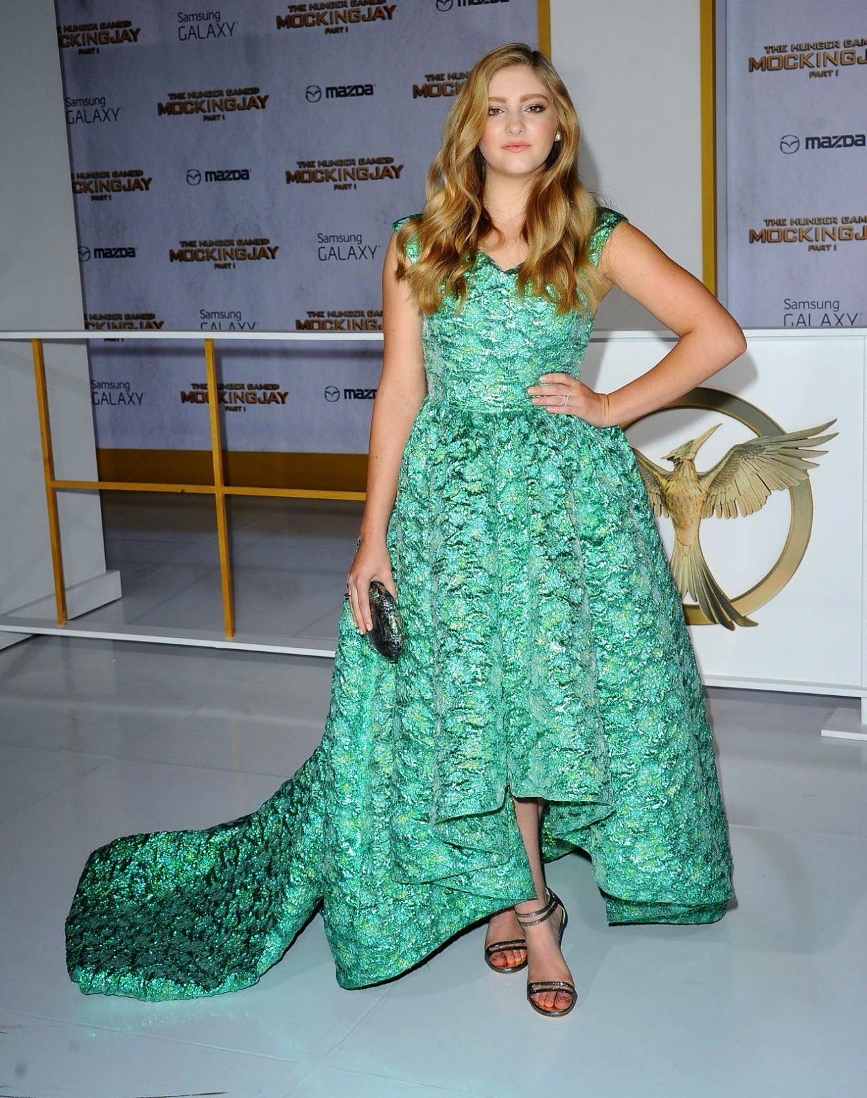 Willow Shields in a mint green gown at The Hunger Games: Mockingjay Part 1 LA premiere