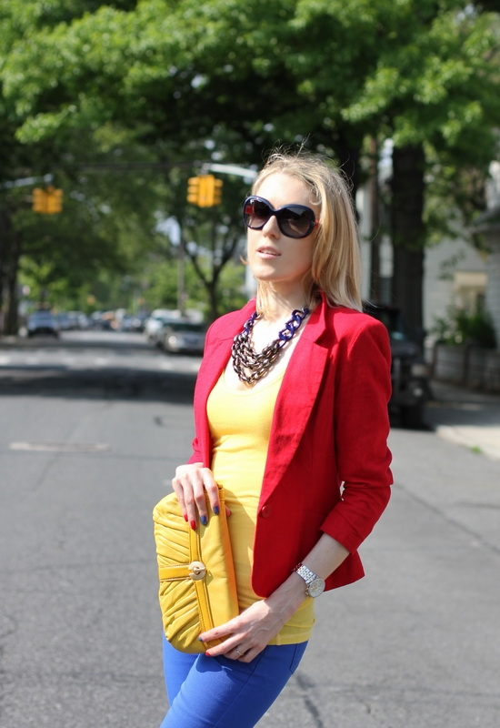 Asos Red Linen Workwear Blazer Asos Petite Skinny Jeans In Dazzling Blue #4 Perlina New York Yellow Leather Clutch Ray-Ban Color-Block Sunglasses Abercrombie & Fitch Yellow Ribbed Tank
