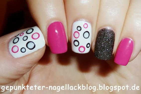Gepunkteter Nagellackblog Nageldesign In Pink Schwarz Weiss Mit