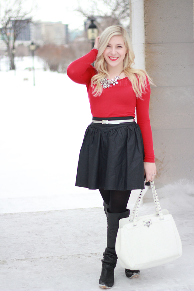 How to wear over the knee boots and still look classy - inspiration from a Canadian style blogger.
