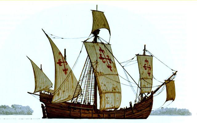 Gambar Kapal Layar Caravel berlayar