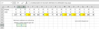 Contando registros en columnas alternas según columna impar.