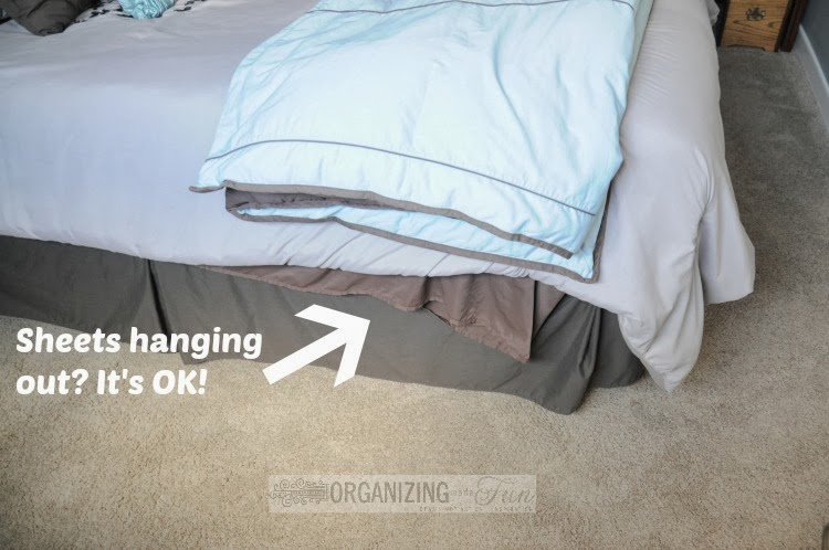 Making the bed doesn't have to be perfect :: OrganizingMadeFun.com