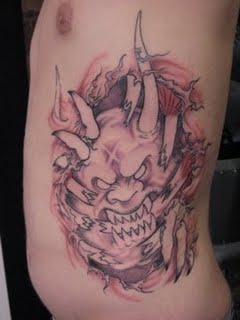 Scary Devil Skin Rip Side Body Tattoo