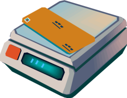 lettre sur un appareil de pesée (dessin)