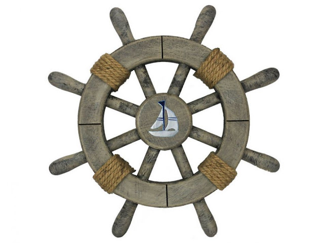 Rustic Ship Wheel with Sailboat Nursery Decorating