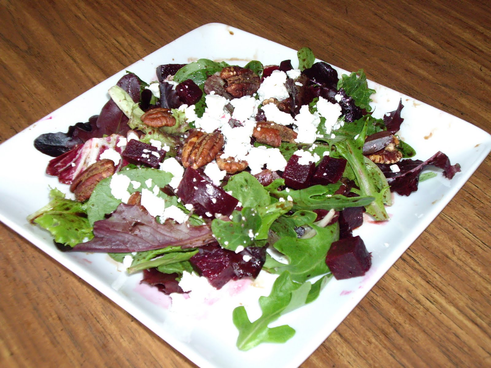 ... Peckish?: Green salad with beets, goat cheese, and candied pecans