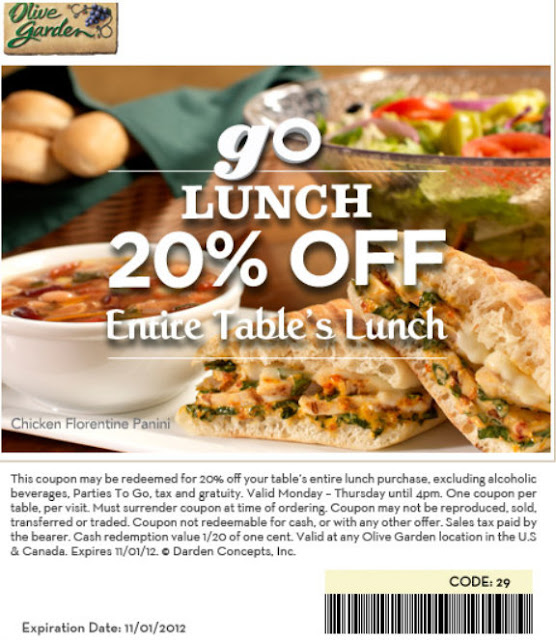 Barbara 39 S Beat Save 20 Off Lunch At Olive Garden 11 1
