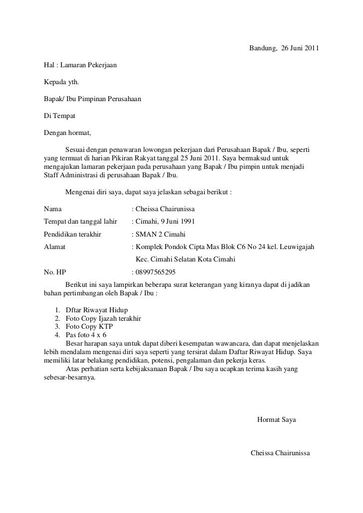 Surat Lamaran Kerja Tanpa Pt Dan Nama Ben Jobs