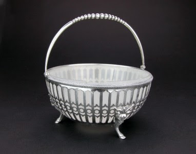 ANTIQUE 19thC VICTORIAN SOLID SILVER & GLASS SUGAR BASKET BOWL, BIRMINGHAM c1871