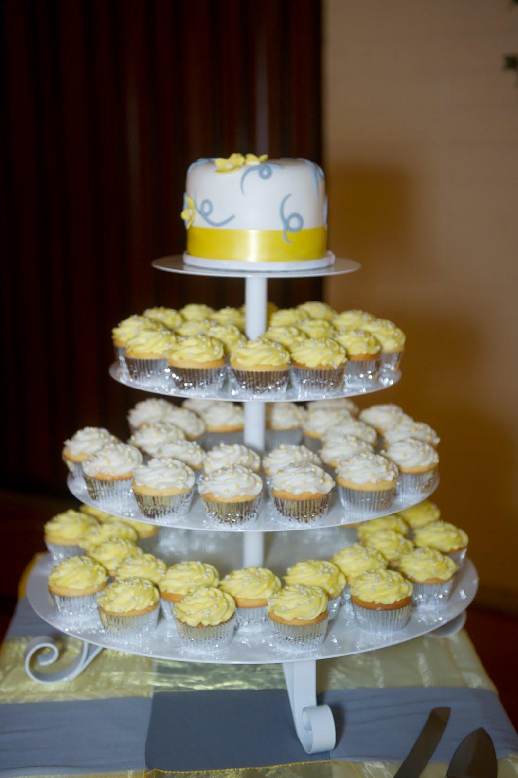 Decadent Designs: Ashley\'s Yellow and Grey Cupcake Wedding Cake