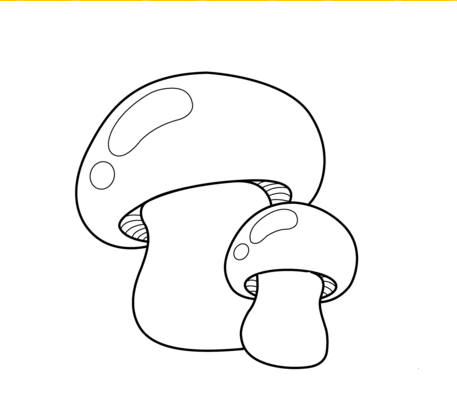 Mushrooms vegetables coloring pages for kids