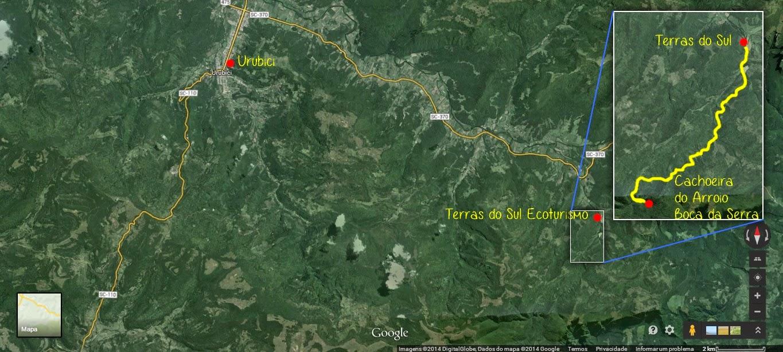 Mapa da trilha do Rio do Bispo até a Cachoeira do Arroio Boca da Serra