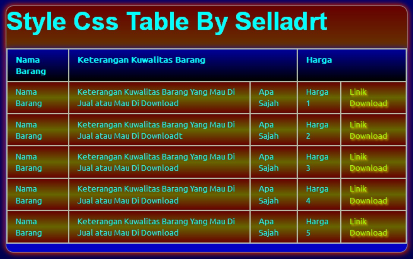 Style css table for Table th style css