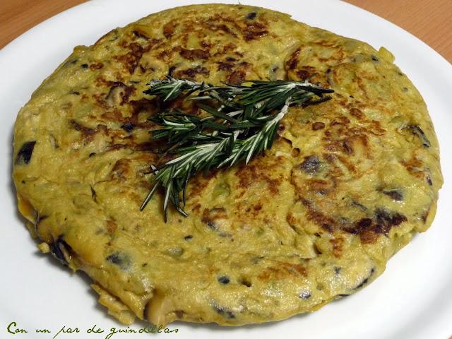 Tortilla de patatas con soja y shiitake