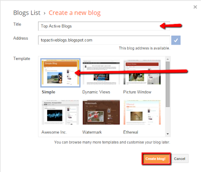 Initial setup of blogger account
