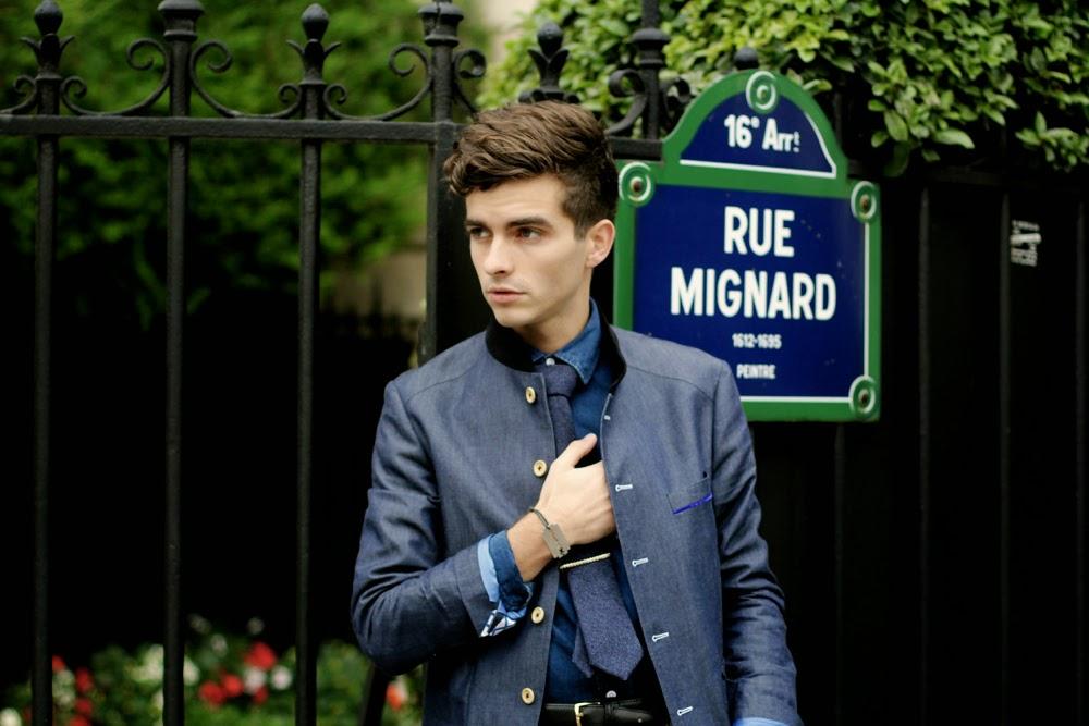 blazer homme cavalier bleu mao col blog mode