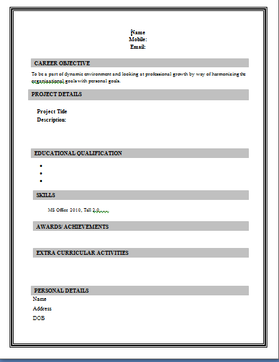 Basic Resume Form | Resume Format Download Pdf