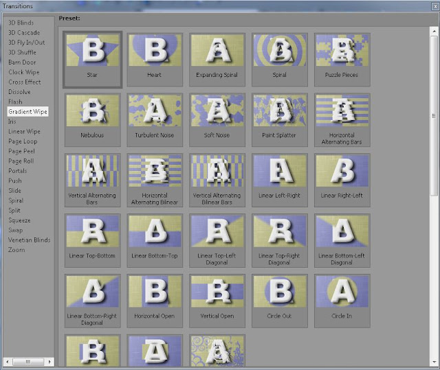 Sony Vegas Video editor has a lot of transition available for use.