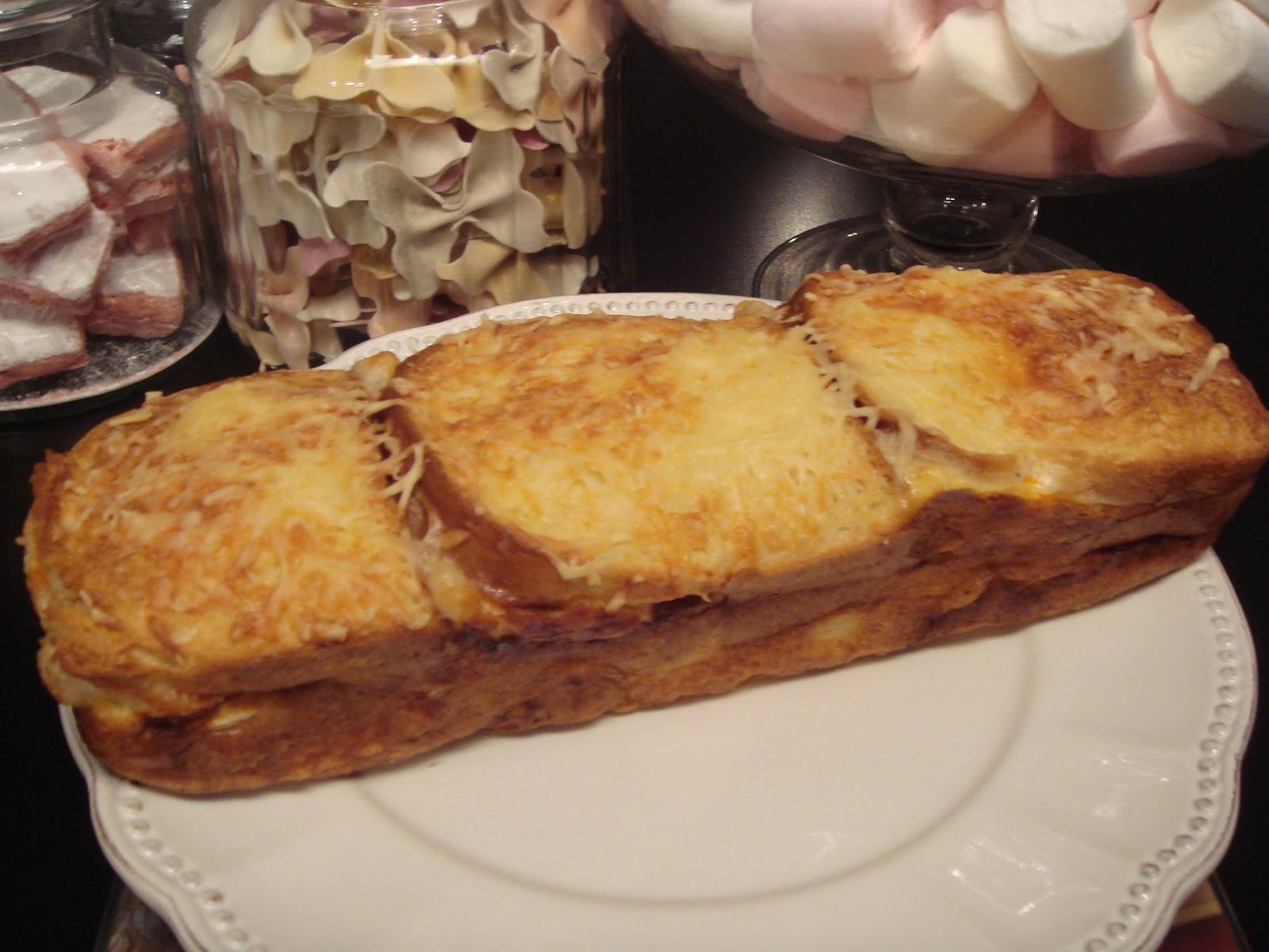 Les recettes d 39 emilie cake croque monsieur au ch vre et au chorizo - Recette croque monsieur au four original ...
