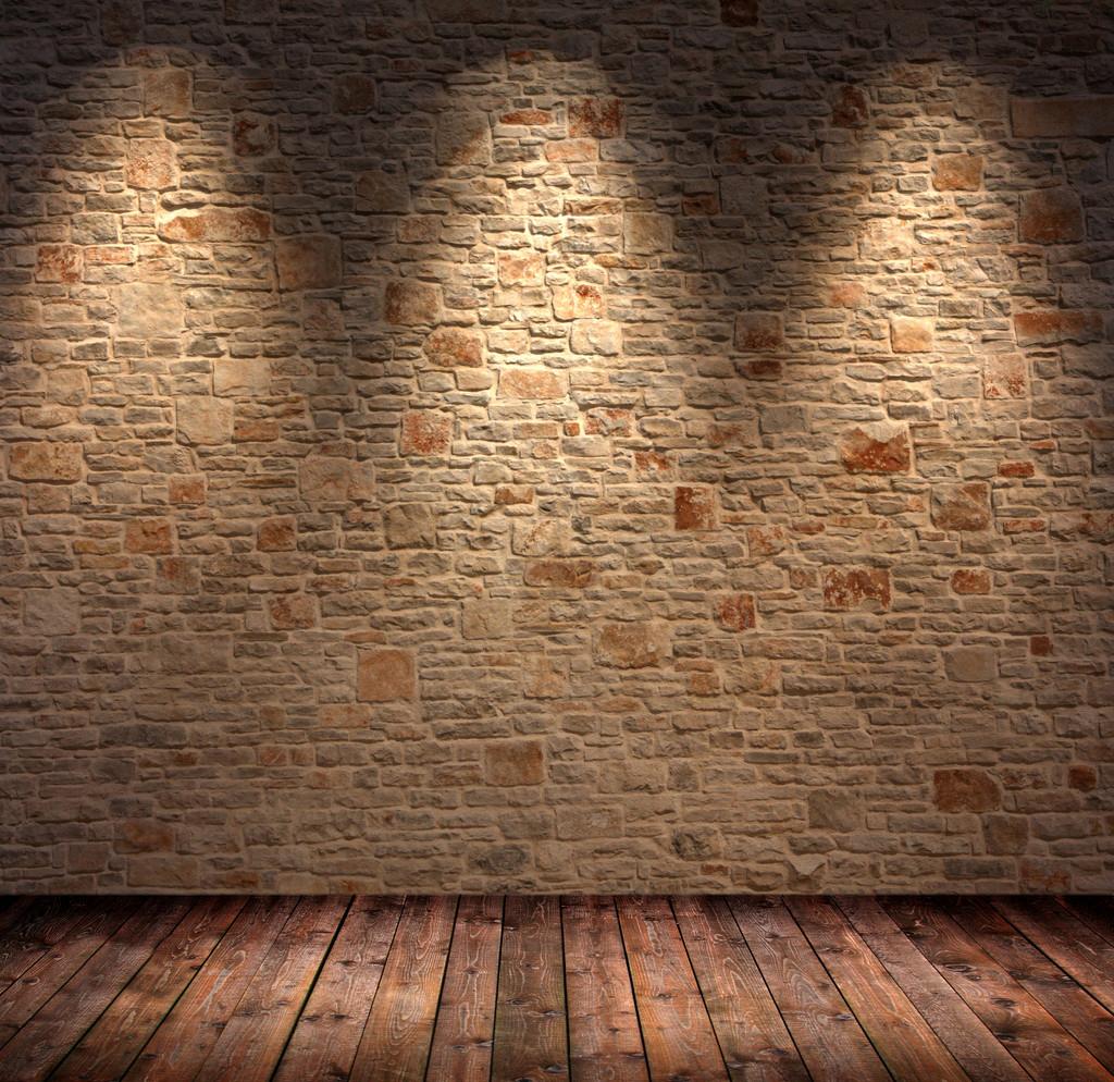 Fondos para fotos muro de piedra iluminado con piso de madera - Muro de madera ...