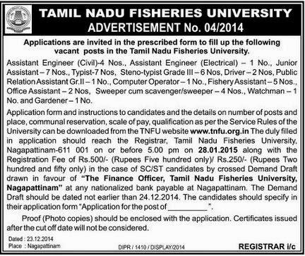 Tamil Nadu Fisheries University (TNFU) Recruitments (www.tngovernmentjobs.in)
