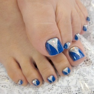 Silver and Blue Triangle Nail Art