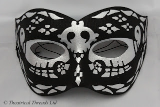 Night Black and Silver Masquerade Ball Mask from Theatrical Threads Ltd