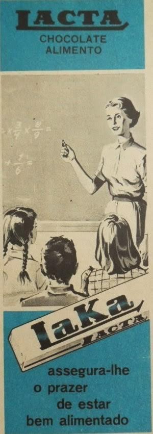 Propaganda do Chocolate Laka (Lacta) em 1963: formalidade do texto e foco no rendimento dos alunos na escola.