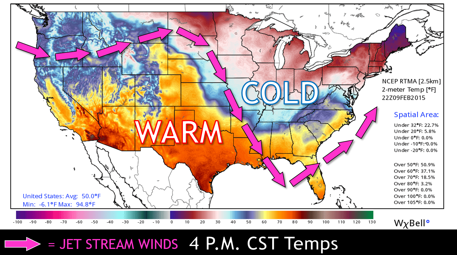 Michaels Weather Blog February - Us map with high and low temperatures