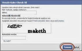 Facebook Hesap Silme Sayfası