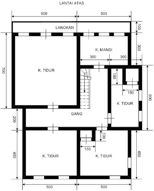 denah desain rumah dua lantai
