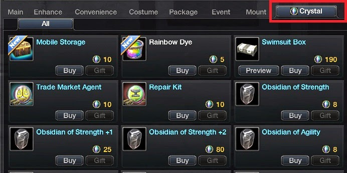 MMORPG Cash Shop Feature