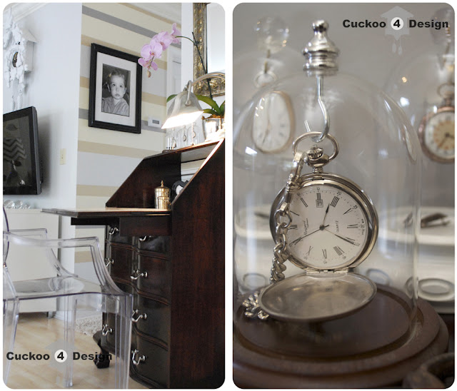 pocket watch collection and secretary desk, louis ghost chair