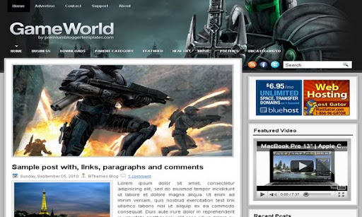 GameWorld Blogger Template