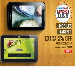 Snapdeal : Mobiles & Tablets extra 5% off on Rs. 5000
