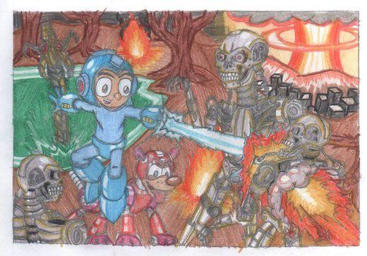 Megaman V.S the T-800 por tommansworld