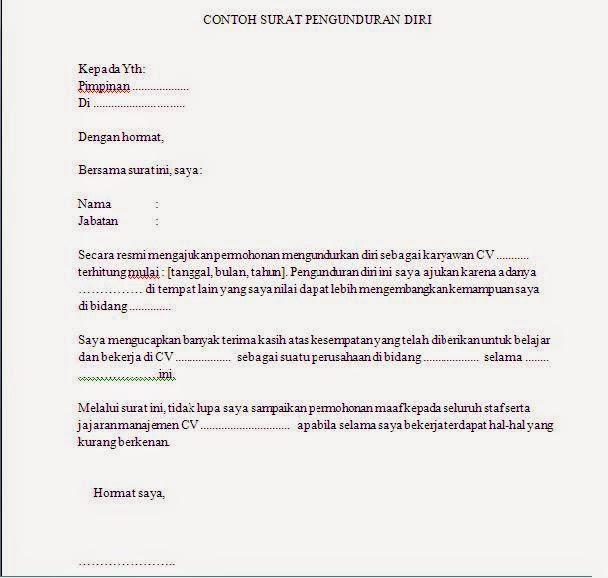 Contoh Surat Pengunduran Diri Kerja Perusahaan Organisasi dll