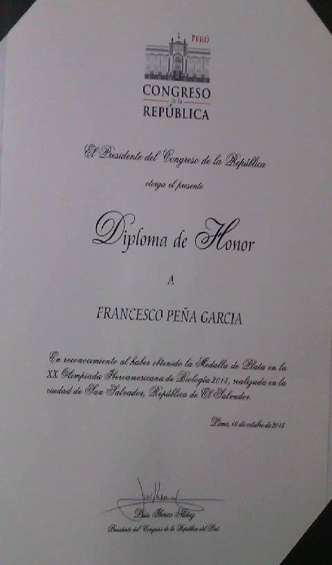 RECONOCIMIENTO EN HONOR AL MERITO A LA NACIÓN DEL CONGRESO  DE LA REPÚBLICA DEL PERÚ.