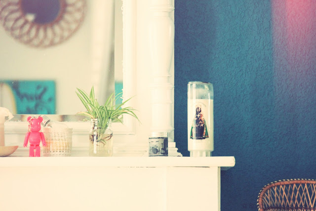 cheminée,miroir,rotin,bougies votives
