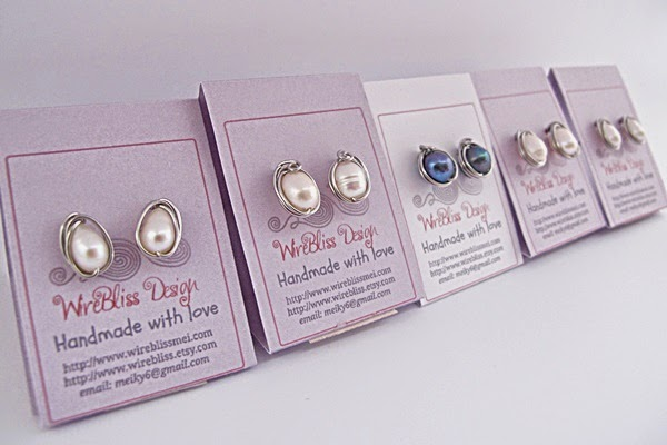 Wire wrapped stud earrings by Wirebliss on earring cards DIY