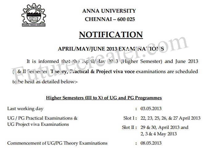 Anna university April/May/June Exam 2013 notification teory and practical