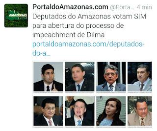 Deputados federais do Amazonas votaram unânimes pelo impeachment