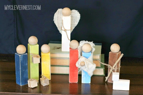 This is my favorite Nativity of all time, totally digging the rustic look and the pops of color! #woodennativity #diynativity #clevernest