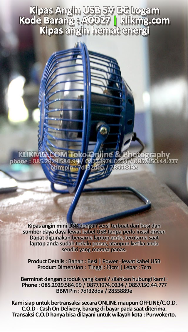 Kipas Angin USB 5V DC Logam - Kode Barang : A0027 | Kipas angin hemat energi