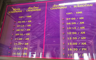 Sukhothai to Chiang Mai bus timetable