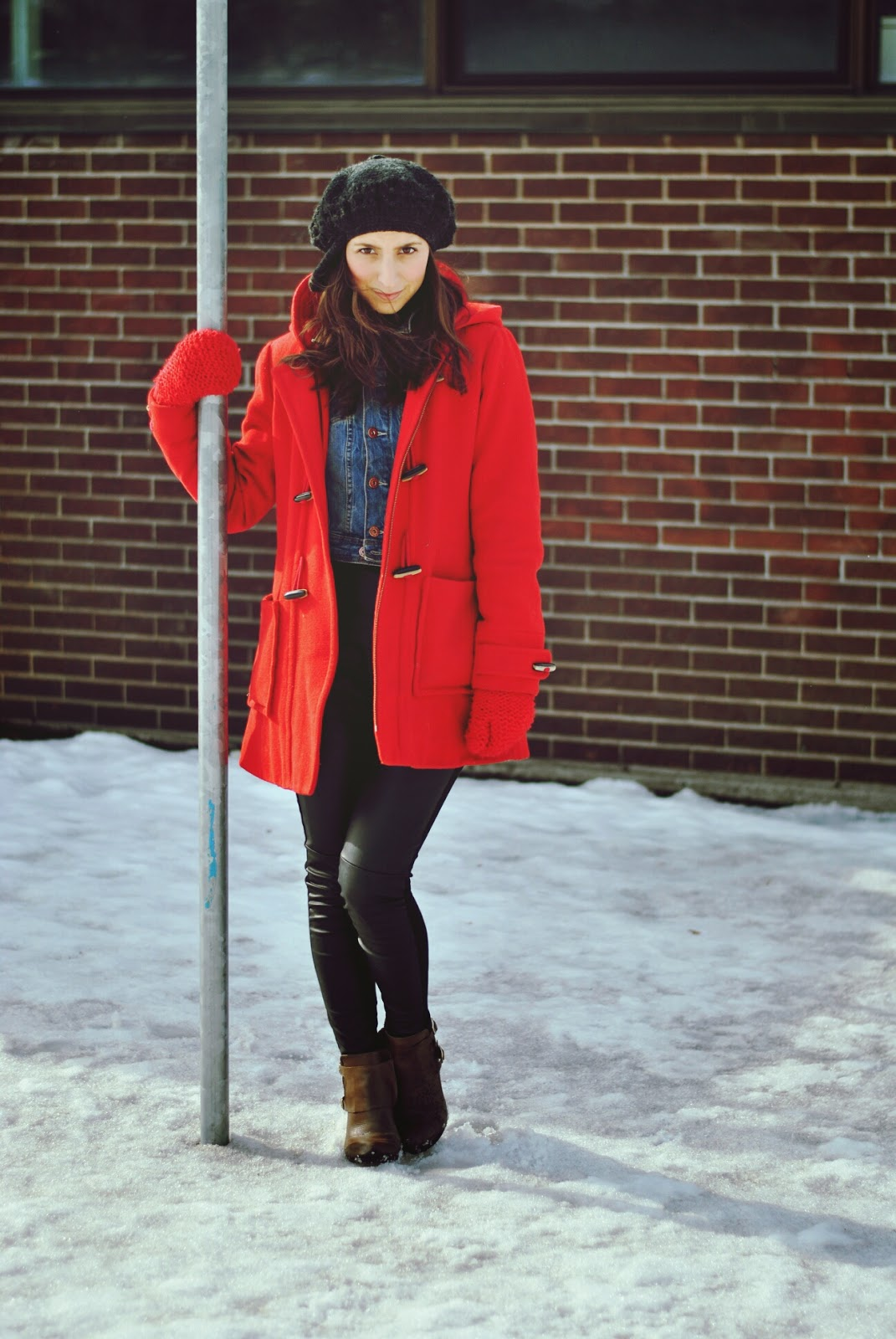 red coat denim jacket crochet beret leather leggings brown leather booties