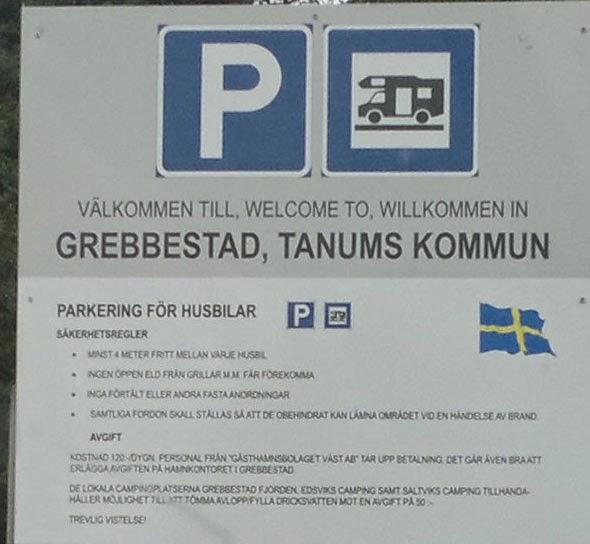 Grebbestad, Tanums kommun. Husbilsparkering