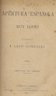 Portada de La Apertura Española ó Ruy López